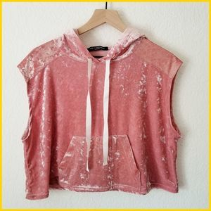 One Clothing Pink Crushed Velvet Cropped Hoodie
